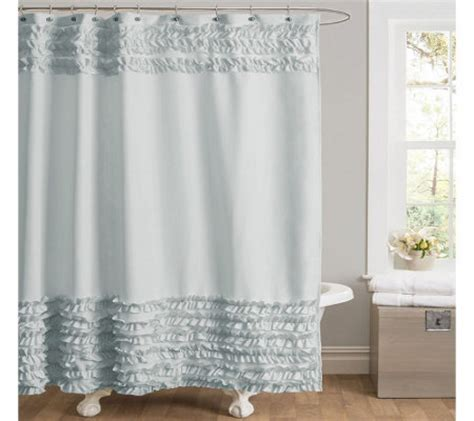 ruffle border shower curtain by lush decor qvc com