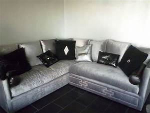 Silver sectional sofa silver gray velvet sectional sofa for Mackenzie chestnut 6 piece reclining sectional sofa with casual style