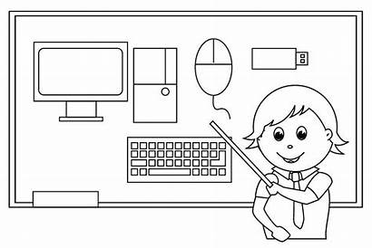 Computer Coloring Pages Parts Computers Outline Printable