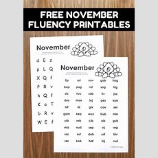 November Fluency Activities  Simply Kinder