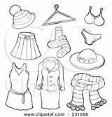 Clothesline Clothes Coloring Clipart Template Illustration Outlined Collage Apparel Digital Royalty Accessories Pages sketch template