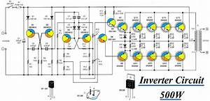 Inverter Circuit 12vdc To 220v 50hz 500w