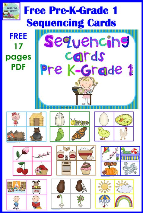 free sequencing cards and color matching for pre k k 1