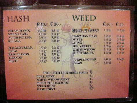 Amsterdam coffee shops, not to be confused with cafés, have been a part of the city since the 1970s, when the dutch government made a clear distinction in the law between 'hard' and 'soft' drugs. Abraxas menus from Amsterdam Holland