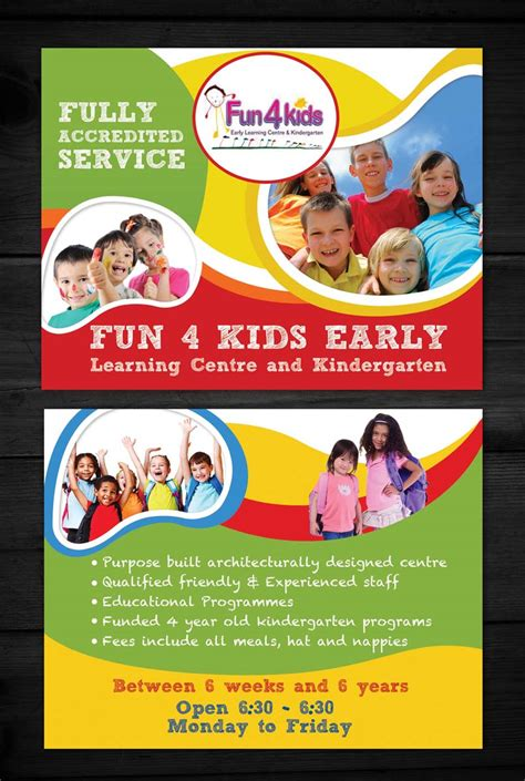 Flyer Design For Fun 4 Kids Early Learning Centre By Esolz
