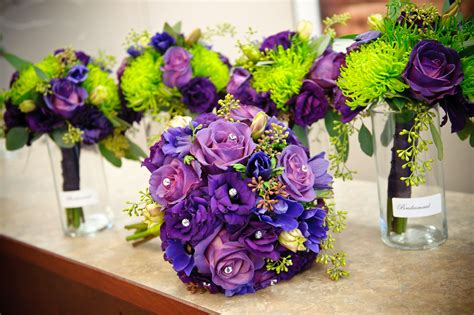 lime green  purple wedding flowers hot colors