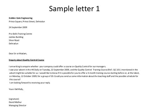 letter  inquiry  business  quality control