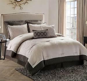 Bed in a bag comforter set king size bedroom bedding brown for Bedroom comforter sets king