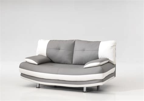 transport canapé canapé fixe design 2 places en pu coloris gris blanc