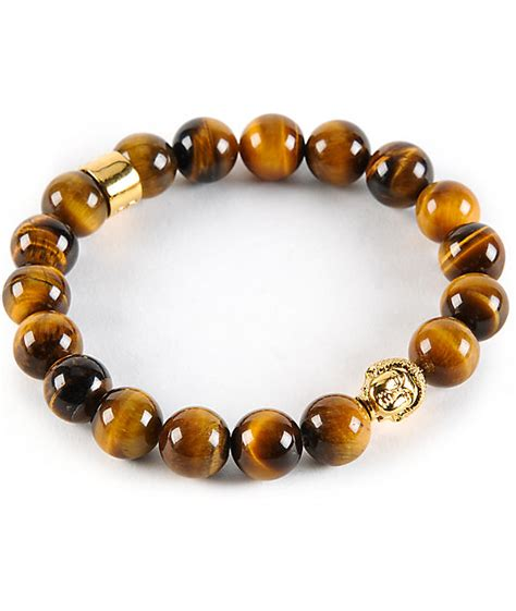The Gold Gods Buddha Tiger Eye Gemstone Bracelet Zumiez
