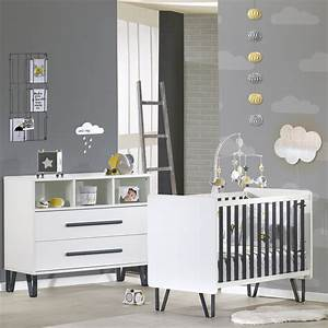 chambre bebe duo lit commode graphite de sauthon meubles With déco chambre bébé pas cher avec livraison de muguet