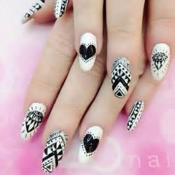 White nail art for short nails black pen blue