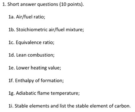Solved 1 Short Answer Questions (10 Points) 1a Airfue