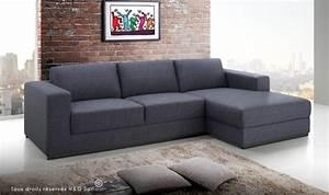 Canapé D Angle Gris Pas Cher : canap d 39 angle avec mridienne design en tissu gris ~ Melissatoandfro.com Idées de Décoration