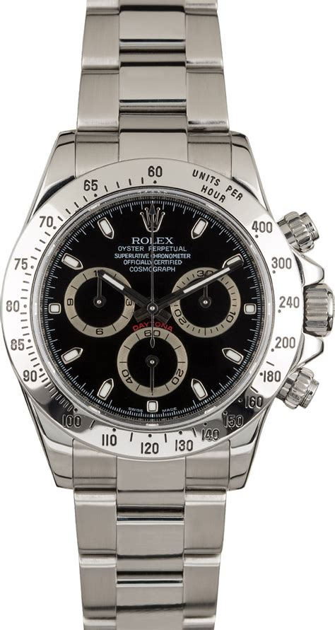 rolex daytona  stainless steel black dial