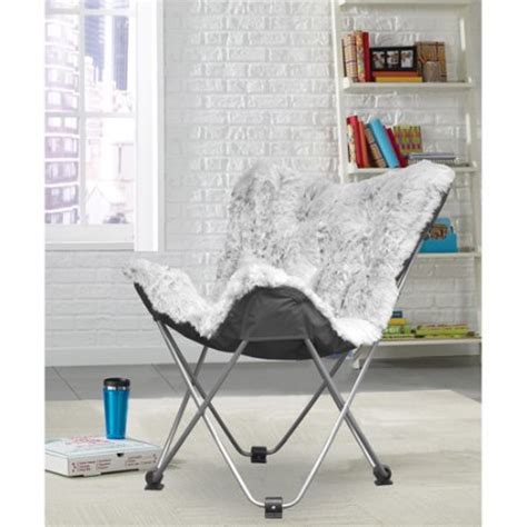 cocoon faux fur frosted butterfly chair walmart