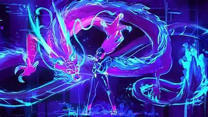 Akali Legends League Lol Neon Dragon Kda