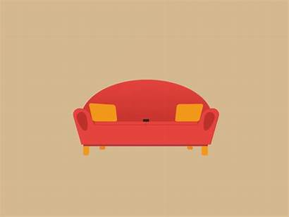 Watching Tv Animation Simple Couch Dribbble Sofa