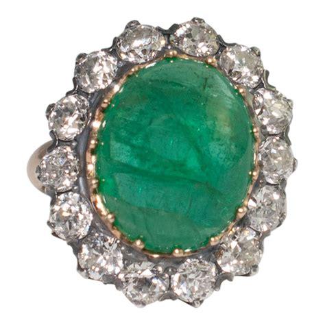 victorian cabochon emerald  diamond ring sold plaza