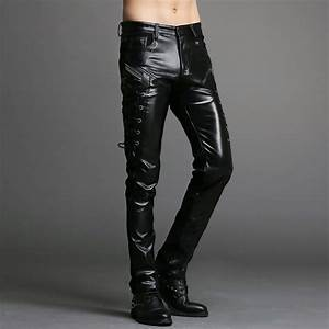 popular mens black leather pants buy cheap mens black With letter pants