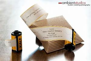 Wedding invitations in rolls of film for Photo film wedding invitations