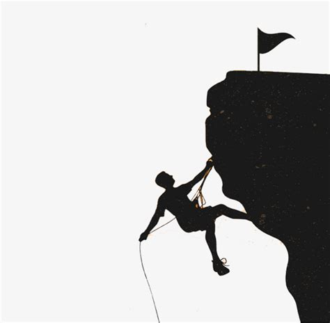 Simple Rock Climbing Silhouette Illustration