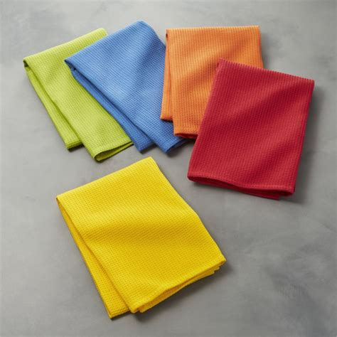 crate and barrel kitchen towels set of 5 salsa solid dish towels crate and barrel