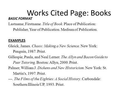 write  works cited page mla format  internet