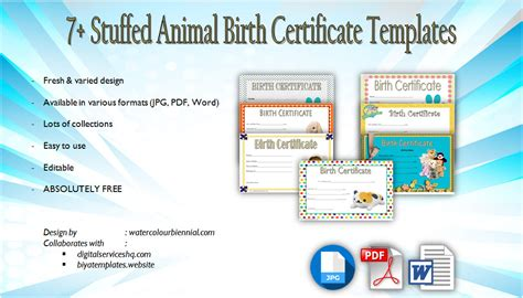 stuffed animal birth certificate templates  adorable