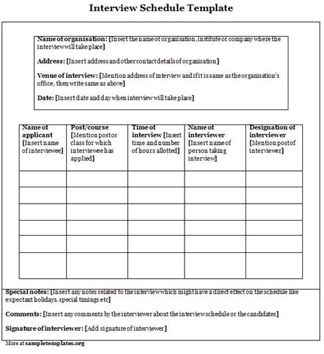 interview schedule best photos of template word evaluation form template sle