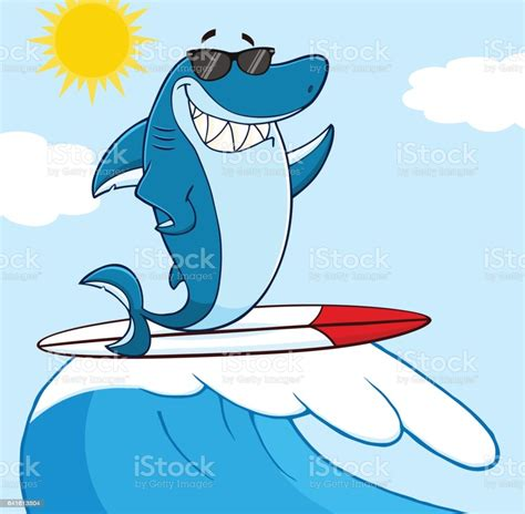 Blue Shark Cartoon Character With Sunglasses Surfing And
