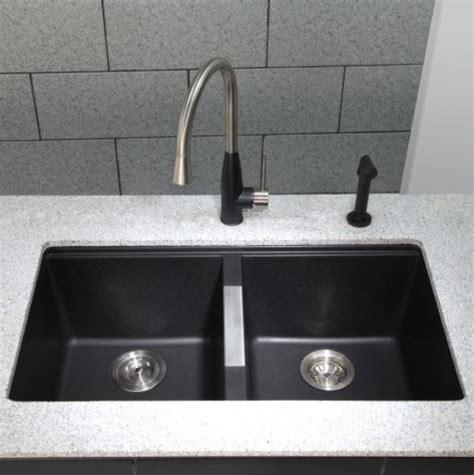 33 inch undermount kitchen sink kraus 33 inch undermount 50 50 bowl black onyx 7329