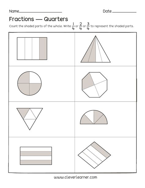 Fun Activity On Fractions, Fourths Worksheets For Children
