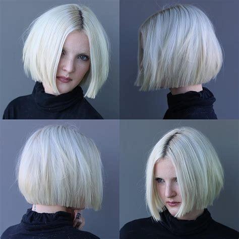 womens platinum textured bob  straight lined edges