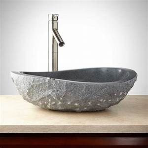 Granite, Vessel, Sink, With, Light, Granite, Chiseled, Exterior