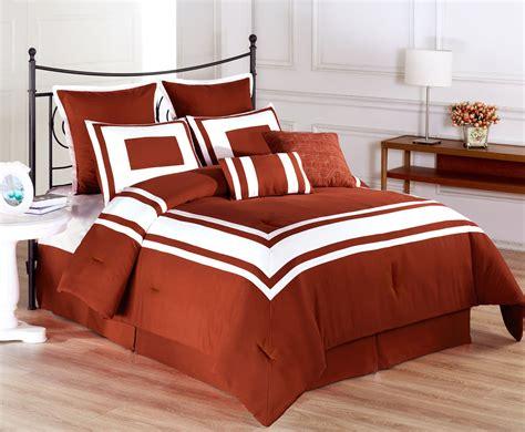 8 piece lux dcor burnt orange comforter set