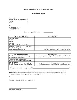 fillable brokerage bill format  rent house edit