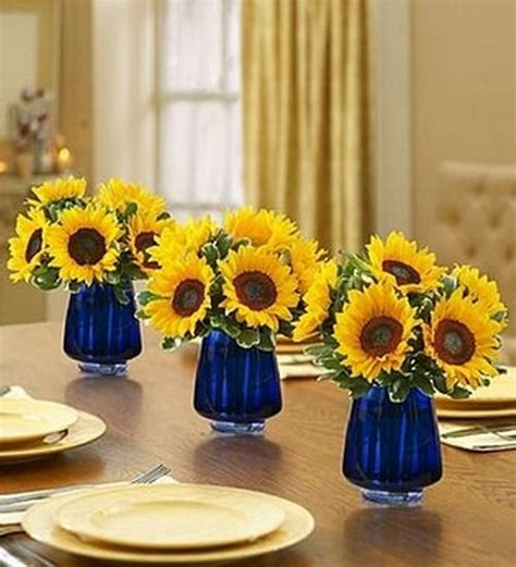 Country Kitchen Paint Color Ideas - 30 sunflowers table centerpieces adding sunny yellow color to table decoration