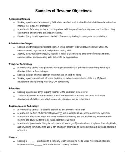 7+ Sample General Objectives For Resume  Sample Templates
