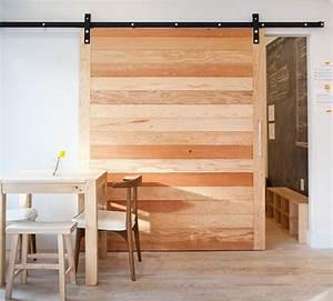 Porte Coulissante En Bois : porte coulissante suspendue de style grange ou moderne ~ Melissatoandfro.com Idées de Décoration