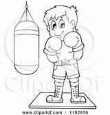 Punching Bag Boxer Clipart Cartoon Outlined Visekart Royalty Vector Messenger Template Coloring Sketch sketch template