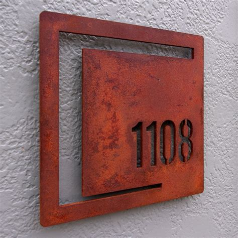 mod shapes square custom house number sign rusted steel
