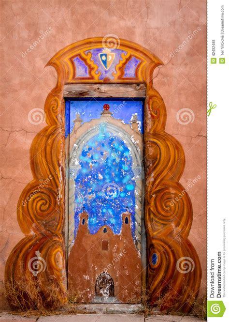 colorful doors  santa fe nm stock photo image  quaint america