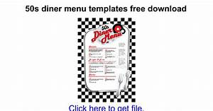 50s diner menu templates free download google docs With 50s diner menu template