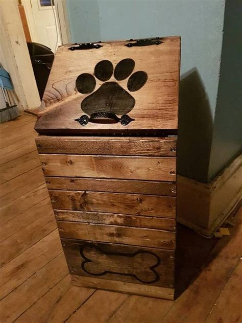 wooden dog food storage container dog food bin pet food