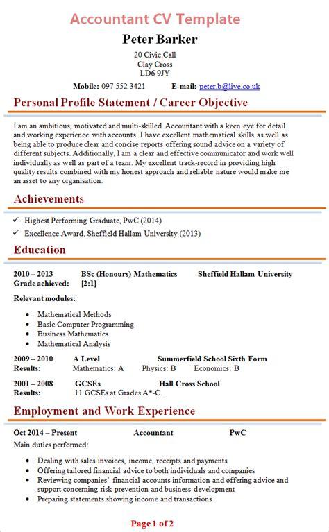 cv templates accountants    resume format