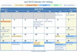 Print Friendly April 2016 Us Calendar For Printing