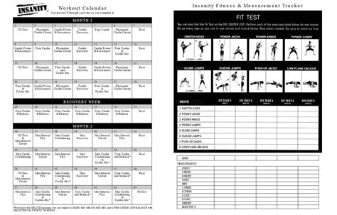 insanity workout sheet printable insanity workout calendar pdf free fitness