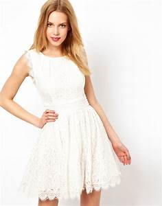 darling lace skater dress in white lyst With robe blanche asos