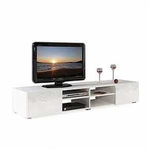Alinea Meuble Tv : meuble tv blanc laqu 2 tiroirs maxo meubles salon salle manger meubles tv ~ Teatrodelosmanantiales.com Idées de Décoration